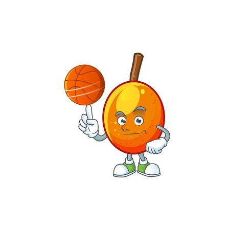 With basketball jocote fruit with character cartoon mascot. vector illustration Ilustracja