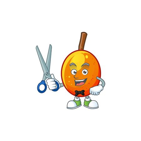 Barber jocote fruit with character cartoon mascot. vector illustration