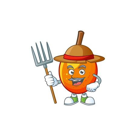 Farmer jocote fruit with character cartoon mascot. vector illustration Archivio Fotografico - 130134296