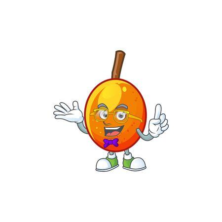 Geek fresh jocote character mascot in cartoon vector illustration 向量圖像