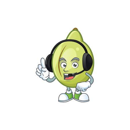 With headphone fresh gubinge cartoon character mascot style. vector illustration Illustration