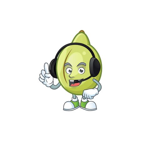 With headphone fresh gubinge cartoon character mascot style. vector illustration Stock Vector - 130134320