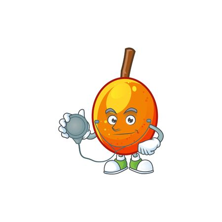 Doctor jocote fruit with character cartoon mascot. vector illustration