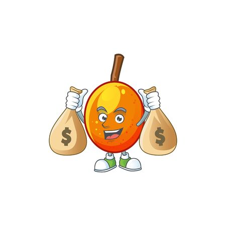 With money bag jocote fruit with character cartoon mascot. vector illustration Ilustracja