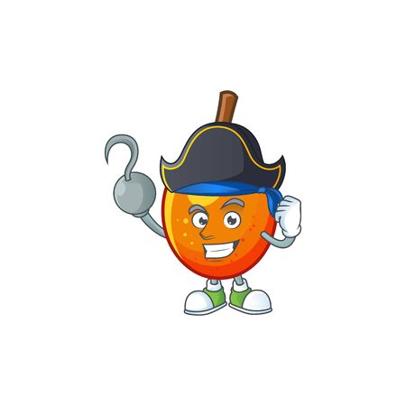 Pirate jocote fruit with character cartoon mascot. vector illustration