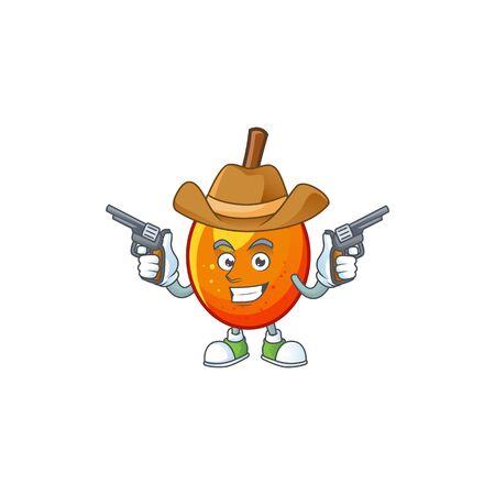 Cowboy jocote fruit with character cartoon mascot. vector illustration