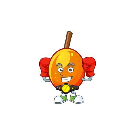 Boxing jocote fruit with character cartoon mascot. vector illustration Ilustracja