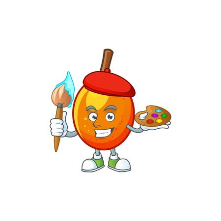 Painter jocote fruit with character cartoon mascot. vector illustration