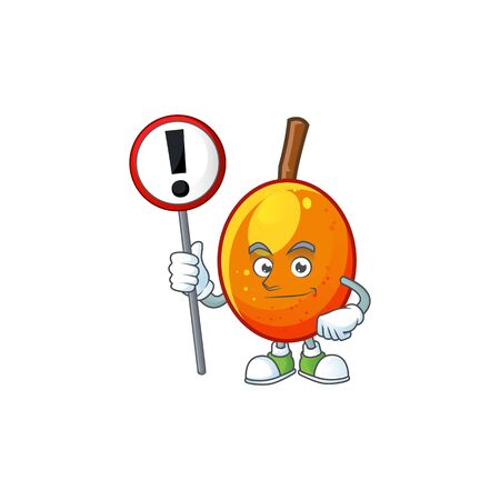 With sign jocote fruit with character cartoon mascot. vector illustration Ilustracja