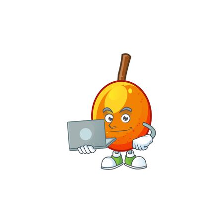 With laptop jocote fruit with character cartoon mascot. vector illustration Ilustracja
