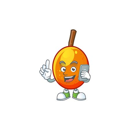 With phone jocote fruit with character cartoon mascot. vector illustration Иллюстрация