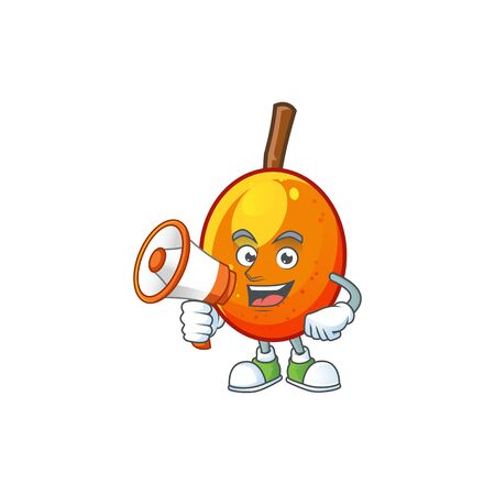 With megaphone jocote fruit with character cartoon mascot. vector illustration Ilustracja