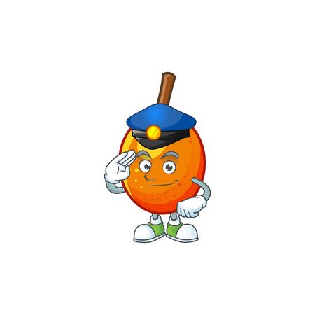 Police jocote fruit with character cartoon mascot. vector illustration