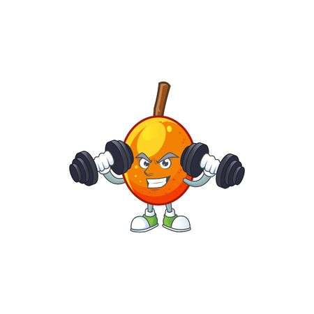 Fitness jocote fruit with character cartoon mascot. vector illustration