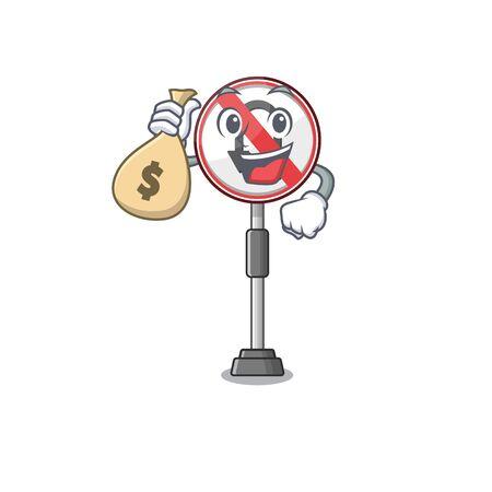 With money bag no u turn with a cartoon