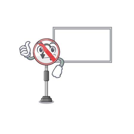 Thumbs up with board no u turn with a cartoon