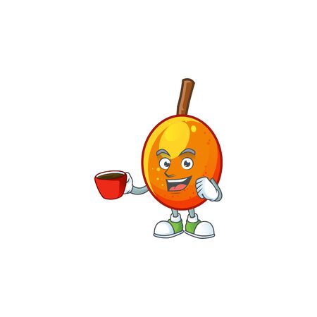 Drinking in cup fresh jocote character mascot in cartoon vector illustration Ilustracja