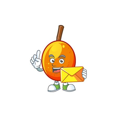 With envelope fresh jocote character mascot in cartoon vector illustration
