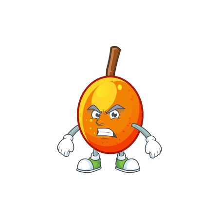 Angry fresh jocote character mascot in cartoon vector illustration Archivio Fotografico - 130134424
