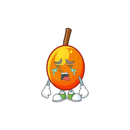 Crying tropical jocote fruit cartoon for design vector illustration