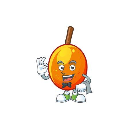 Waiter tropical jocote fruit cartoon for design vector illustration Иллюстрация