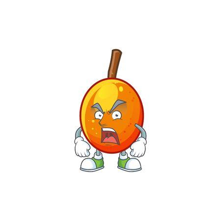 Angry tropical jocote fruit cartoon for design vector illustration