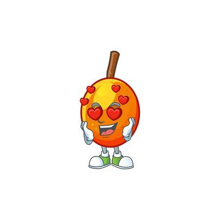In love tropical jocote fruit cartoon for design vector illustration
