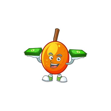 With money tropical jocote fruit cartoon for design vector illustration 向量圖像
