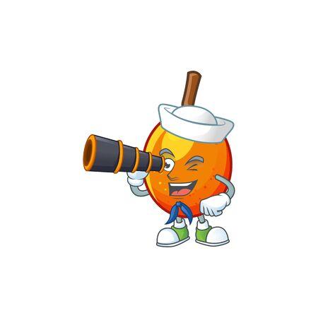 Sailor with binocular tropical jocote fruit cartoon for design vector illustration