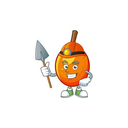 Miner tropical jocote fruit cartoon for design vector illustration