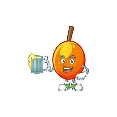 With juice tropical jocote fruit cartoon for design vector illustration