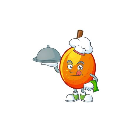 Chef with food tropical jocote fruit cartoon for design vector illustration Archivio Fotografico - 130134459