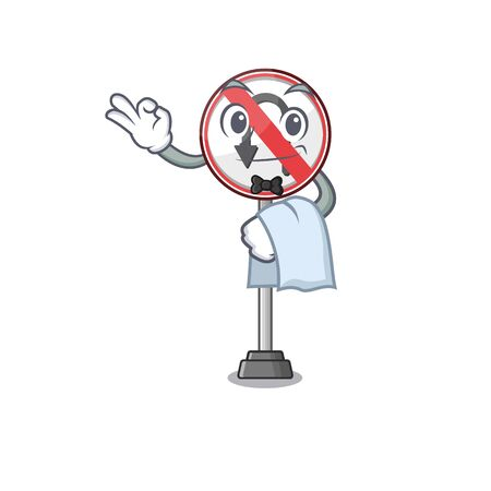 Waiter no u turn isolated the mascot vector illustration