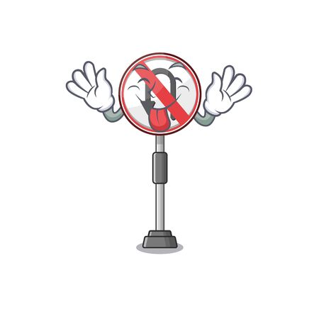 Tongue out no u turn cartoon above table