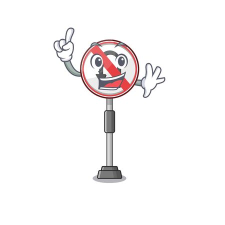 Finger no u turn cartoon above table