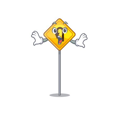Surprised u turn sign with a mascot Иллюстрация