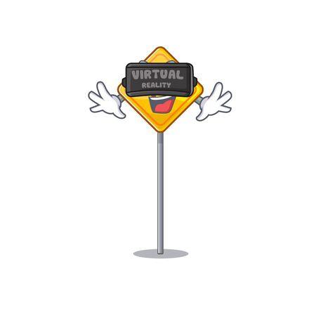 Virtual reality u turn sign with a mascot vector illustration Иллюстрация