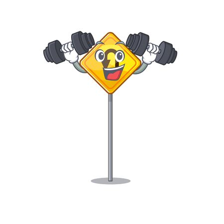 Fitness u turn sign on edge road cartoon