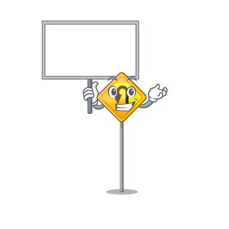 Bring board u turn sign on edge road cartoon