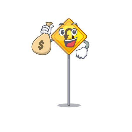 With money bag u turn sign on edge road cartoon vector illustration
