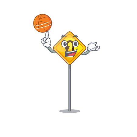 With basketball u turn sign on edge road cartoon