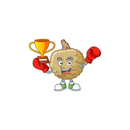 Boxing winner marolo fruit cartoon character mascot style. vector illustration