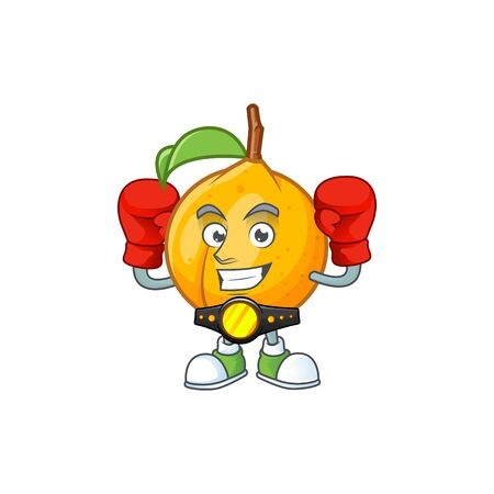 Boxing seeds nutmeg with cartoon character style vector illustration Иллюстрация