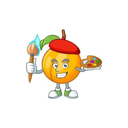 Painter seeds nutmeg with cartoon character style vector illustration Stock Illustratie