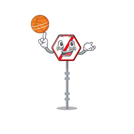 With basketball no overtaking isolated with the character vector illustration