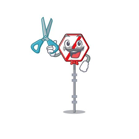Barber no overtaking isolated with the character vector illustration 向量圖像