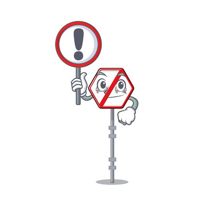 With sign no overtaking isolated with the character vector illustration