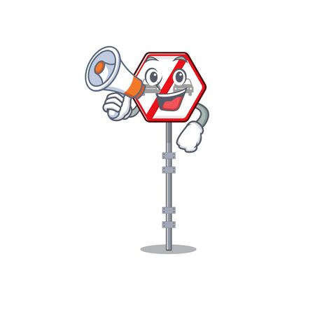 With megaphone no overtaking isolated with the character vector illustration