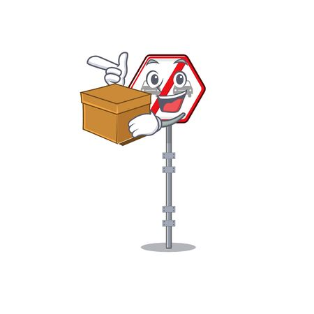 With box no overtaking cartoons on the curb vector illustration