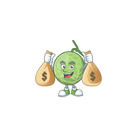 With money bag fruit melon cartoon mascot for diet vector illustration